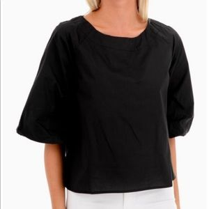 NWT Mod Ref black Wyatt blouse, boat neck